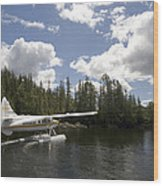 A Seaplane Taking Off From Vancouver Wood Print