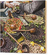 A Selection Of Olives Sit Wood Print