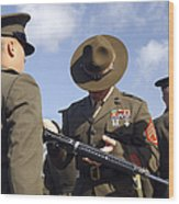 A Senior Drill Instructor Inspects Wood Print