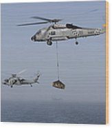 A Sh-60j Seahawk And A Mh-60s Wood Print