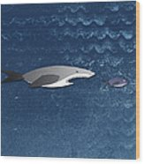 A Shark Chasing A Smaller Fish Wood Print by Jutta Kuss