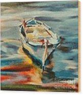 A Single Boat Wood Print