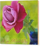 A Single Rose II Mother's Day Card Wood Print