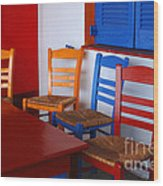 Colorful Table And Chairs Greece Wood Print