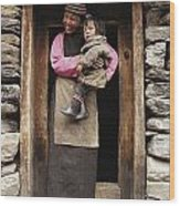 A Smiling Bhutanese Woman And Child Wood Print