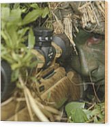 A Sniper Dressed In A Ghillie Suit Wood Print