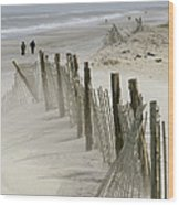 A Snow Fence Stretches Across A Dune Wood Print by Skip Brown