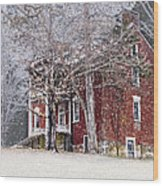 A Snowy Night Wood Print by Kathy Jennings