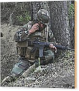 A Soldier Communicates His Position Wood Print