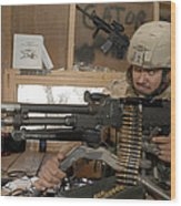 A Soldier Conducts An Observation Wood Print