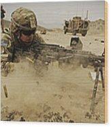 A Soldier Firing His Mk-48 Machine Gun Wood Print