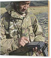 A Soldier Inputs The Firing Data Wood Print