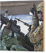 A Soldier Keeps A Close Watch Wood Print