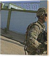 A Soldier Patrols The Streets Of Qalat Wood Print