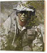 A Soldier Practices Evasion Maneuvers Wood Print