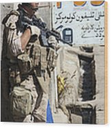A Soldier Provides Security Wood Print
