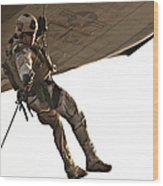 A Soldier Rappels From An Mh-60s Wood Print