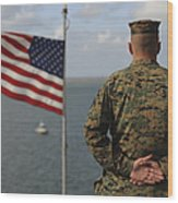 A Soldier Stands At Attention On Uss Wood Print