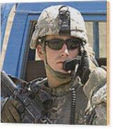 A Soldier Talking Via Radio Wood Print by Stocktrek Images