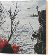 A Soldier Uses Red Smoke To Signal Wood Print