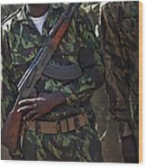 A Soldier With The Armed Forces Wood Print