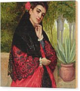 A Spanish Beauty Wood Print by John-Bagnold Burgess