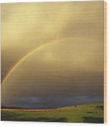 A Spectacular Double Rainbow And Storm Wood Print by Jason Edwards
