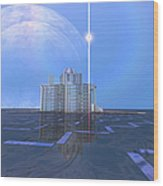 A Star Shines On Alien Architecture Wood Print