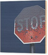 A Stop Sign Covered In Snow Wood Print by John Burcham