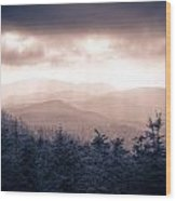 a Storm Over the Smokys Monotone Wood Print