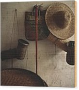 A Straw Hat, Straw Baskets And A Belt Wood Print