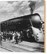 A Streamliner Train In Albany, New Wood Print
