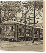 A Streetcar Named St. Charles Sepia Wood Print