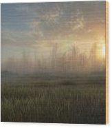 A Summer Sunrise On The Edge Wood Print