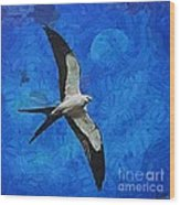 A Swallow And The Moon Wood Print