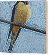 A Swallow On A Wire Wood Print