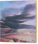 A Swift Moving Thunderstorm Moves Wood Print