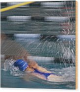 A Swimmer Races Through The Water Wood Print