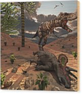 A T-rex Comes Across The Carcass Wood Print