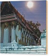 A Tempel In A Wat During A Full Moon Night  Wood Print