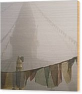 A Temple And Prayer Flags Shrouded Wood Print