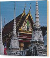 A Temple In A Wat Monestry In Tahiland Wood Print