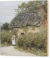 A Thatched Cottage Near Peaslake Surrey Wood Print