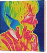 A Thermogram Of A Boy Talking Wood Print