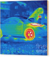 A Thermogram Of A Man Working On A Car Wood Print