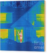 A Thermogram Of A Person Waving In House Wood Print