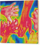 A Thermogram Of A Pile Of Human Hands Wood Print