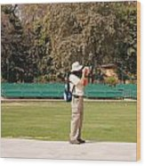 A Tourist Using A High Powered Camera Inside The Red Court In New Delhi Wood Print