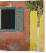 A Tree Outside A Colorful Building And Wood Print