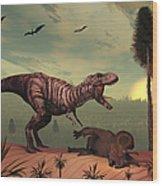 A Triceratops Falls Victim Wood Print